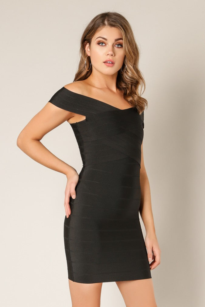 Side view black cross bust bodycon bandage dress