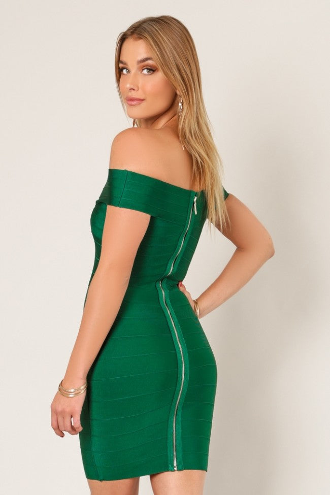 Back view pine green cross bust bodycon bandage dress