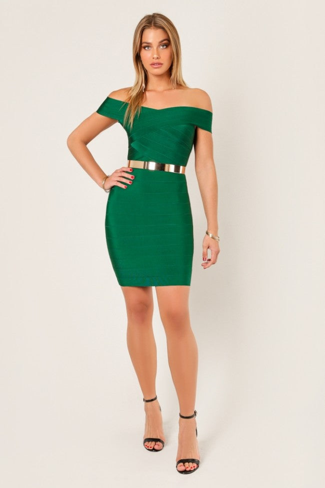 Full front view pine green cross bust bodycon bandage dress