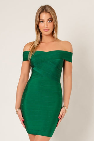 Front view pine green cross bust bodycon bandage dress