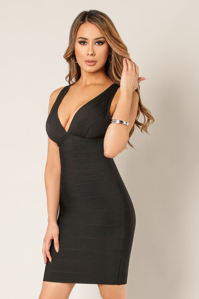 Side view sexy woman wearing black body con bandage dress