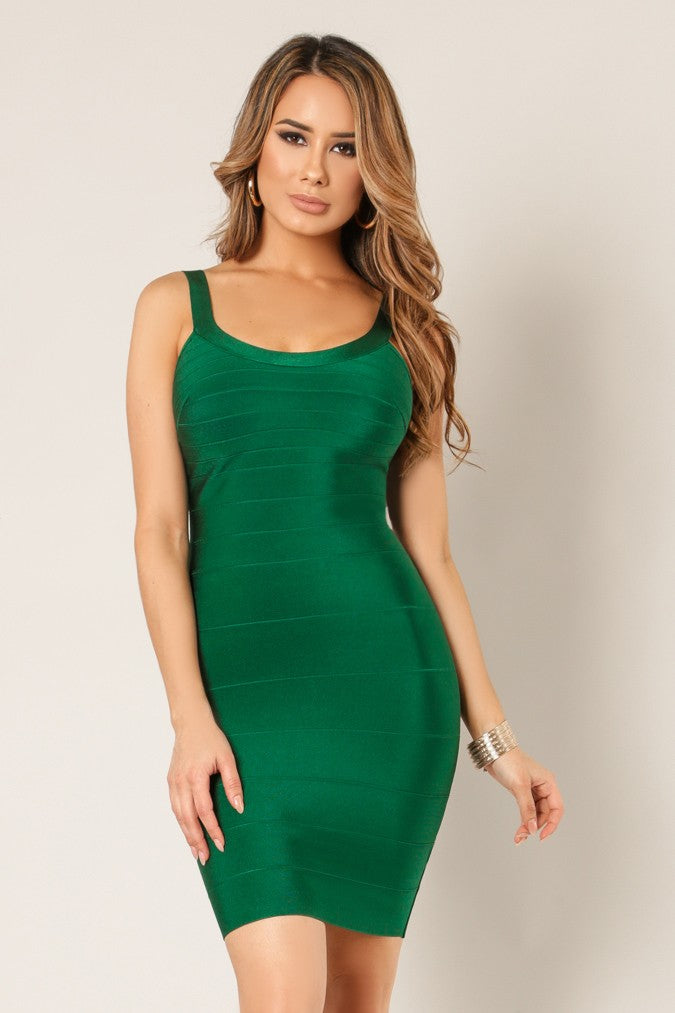 Front view young woman wearing green bandage sexy club dress
