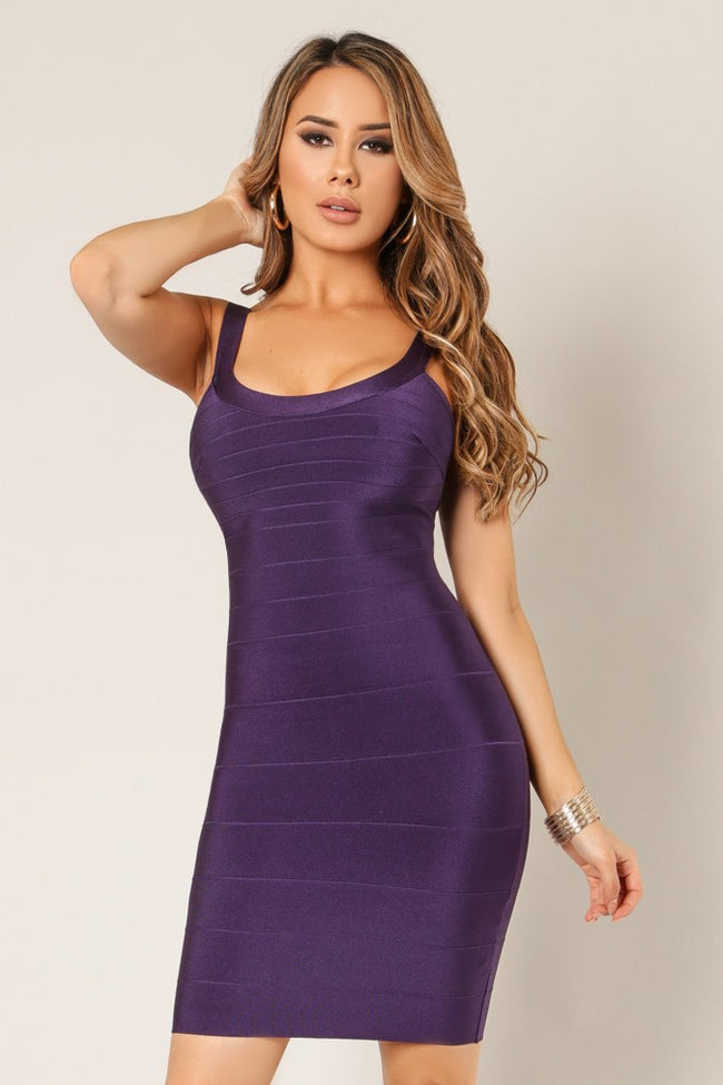 Front view young woman wearing eggplant bandage sexy club dress