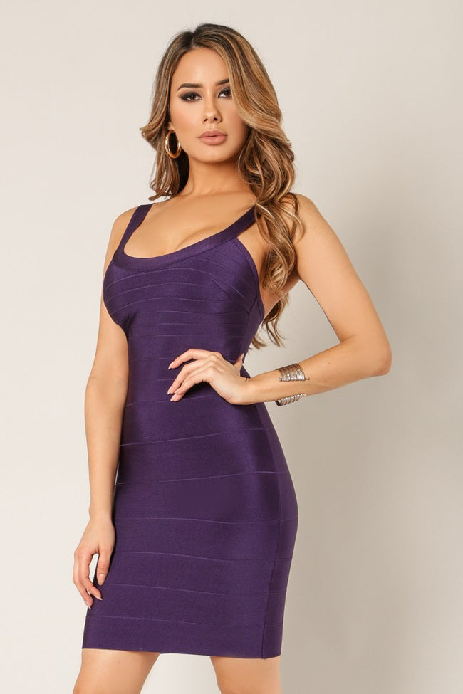 Side view young woman wearing eggplant bandage sexy club dress