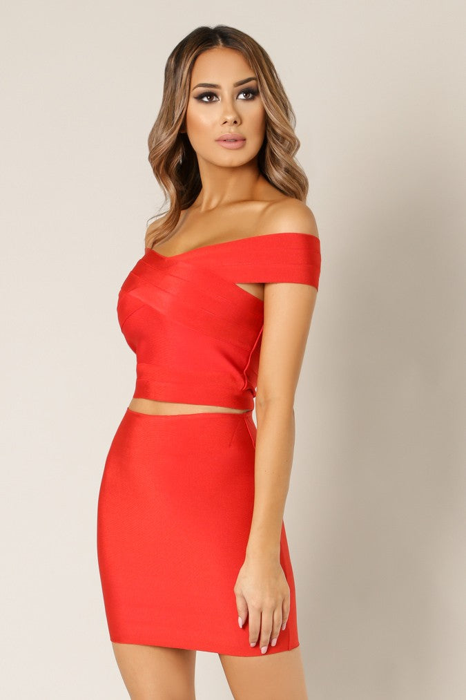 Front view young woman wearing red 2-pc sexy bandage fabric top and skirt - 2