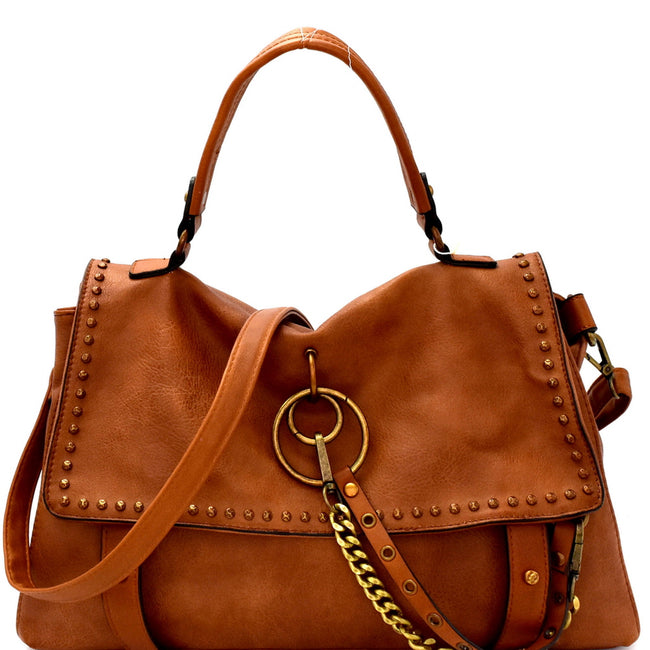 VSB Handbags Rustic Flap Satchel Handbag