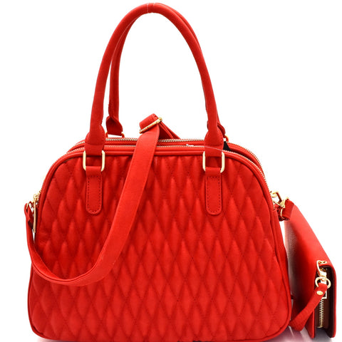 Front view red quilted satchel handbag with matching wallet