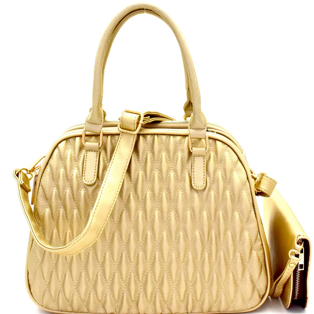 Front view gold quilted satchel handbag with matching wallet