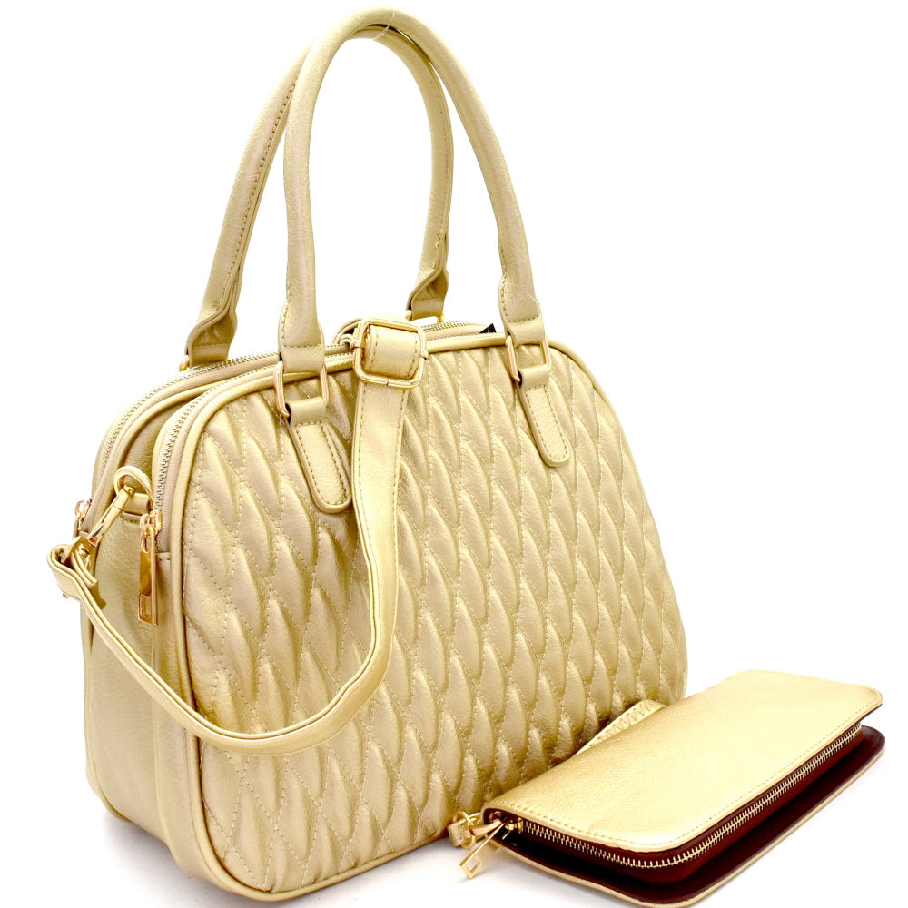 Side view gold quilted satchel handbag with matching wallet