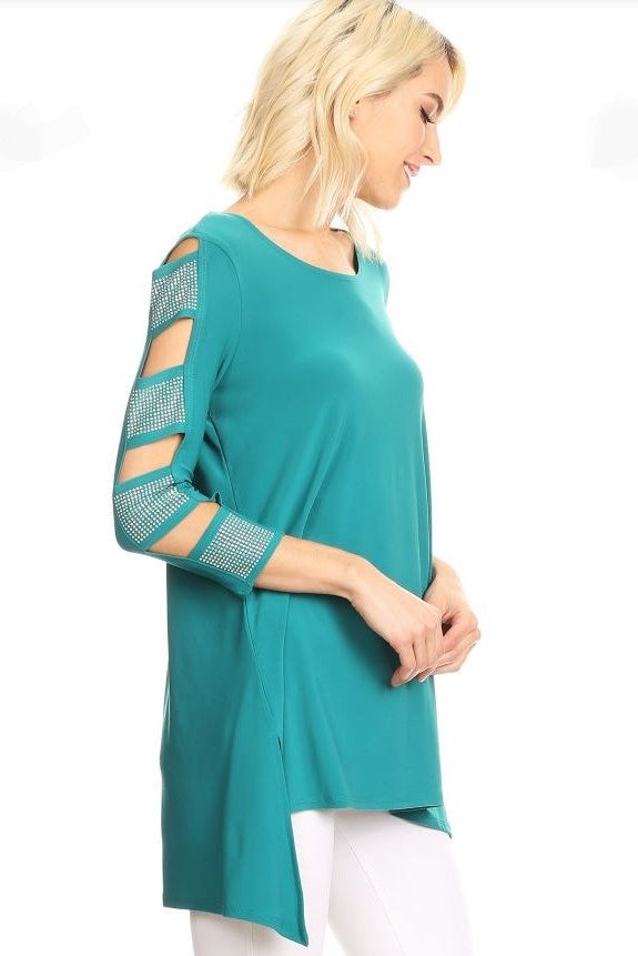 Right side view woman wearing teal 3/4 sleeve ladder sleeve tunic with rhinestone ladder