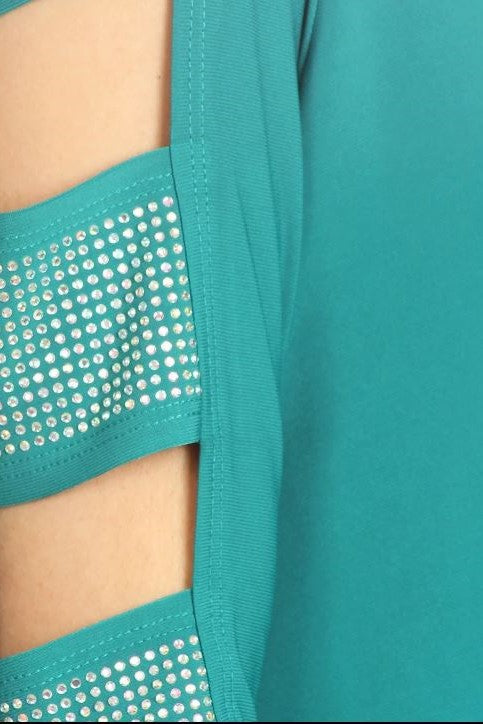 Detail view teal 3/4 sleeve ladder sleeve tunic with rhinestone ladder