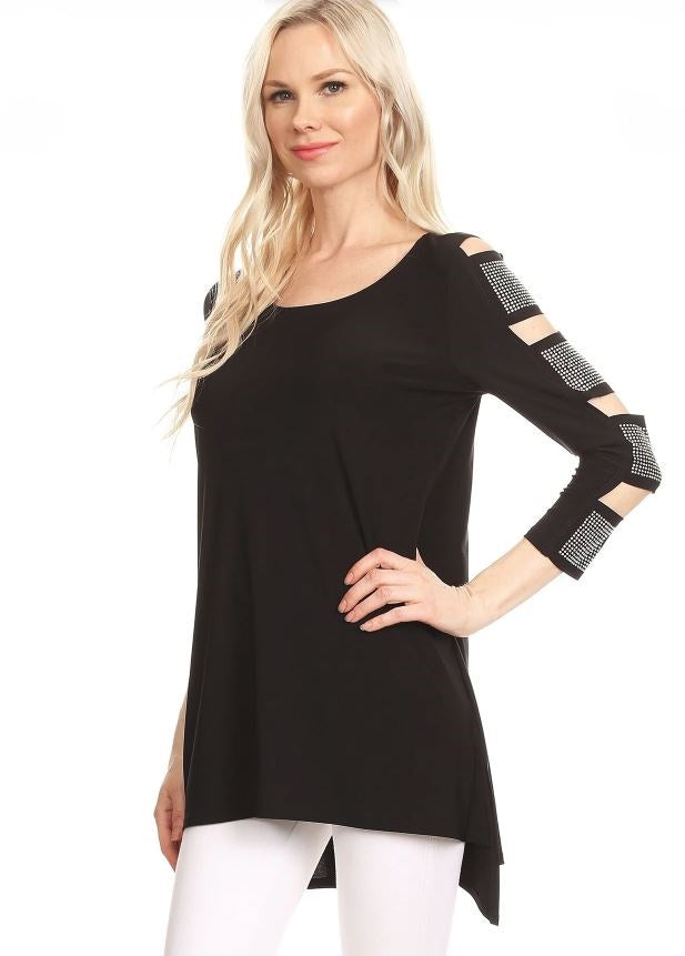 Front view/left arm woman wearing black 3/4 sleeve ladder sleeve tunic with rhinestone ladder
