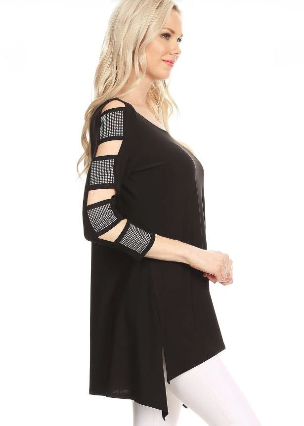 Right side view woman wearing black 3/4 sleeve ladder sleeve tunic with rhinestone ladder