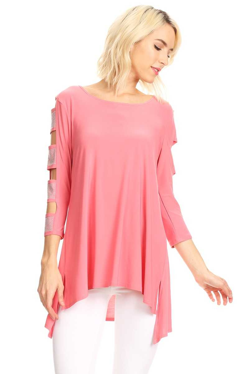 Front view woman wearing rose pink 3/4 sleeve ladder sleeve tunic with rhinestone ladder
