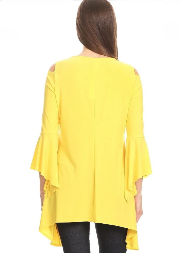 Back view woman wearing yellow open shoulder bell sleeve tunic top