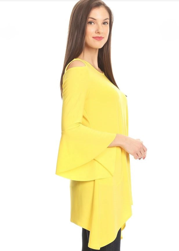 Right side view woman wearing yellow open shoulder bell sleeve tunic top