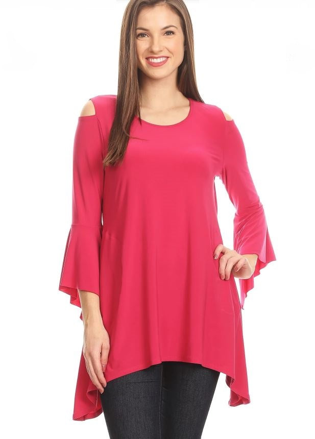 Front view woman wearing fuchsia open shoulder bell sleeve tunic top