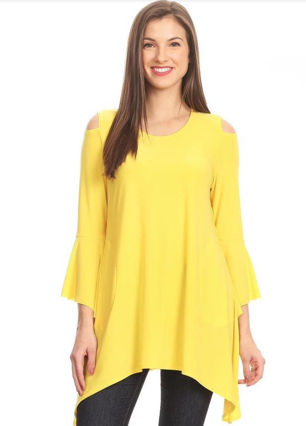 Front view woman wearing yellow open shoulder bell sleeve tunic top
