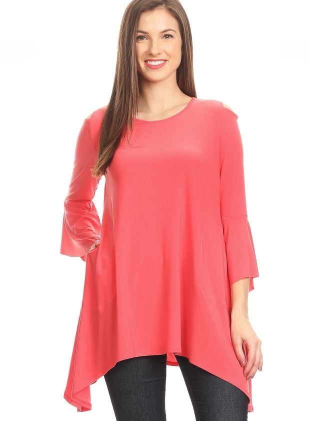 Front view woman wearing coral open shoulder bell sleeve tunic top