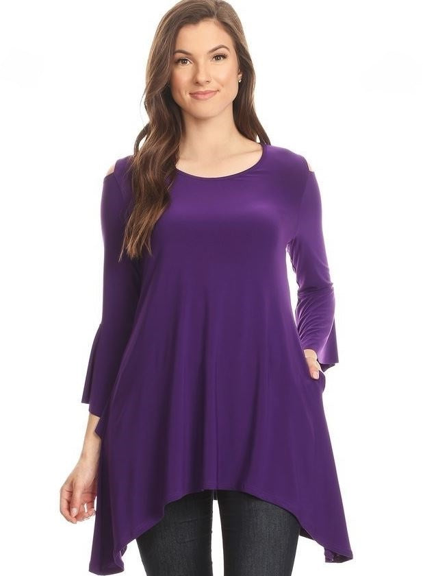 Front view woman wearing purple open shoulder bell sleeve tunic top