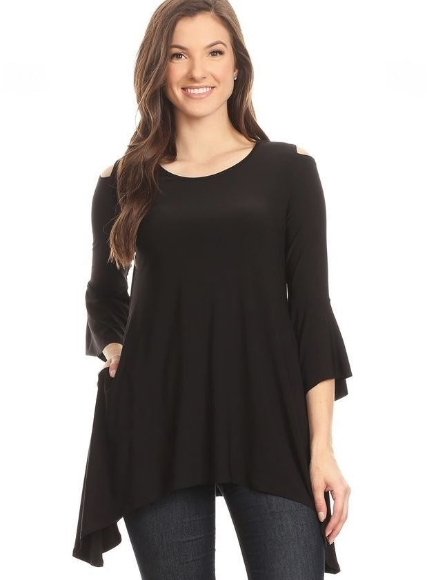 Front view woman wearing black open shoulder bell sleeve tunic top