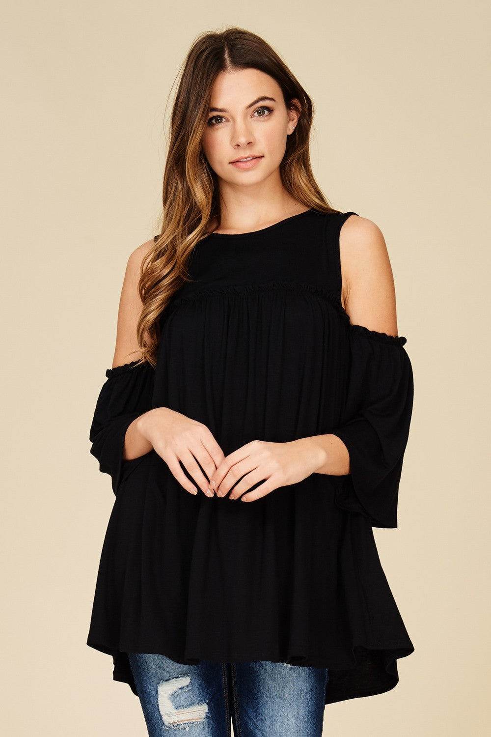 Black cold shoulder knit tunic top with three quarter bell sleeves