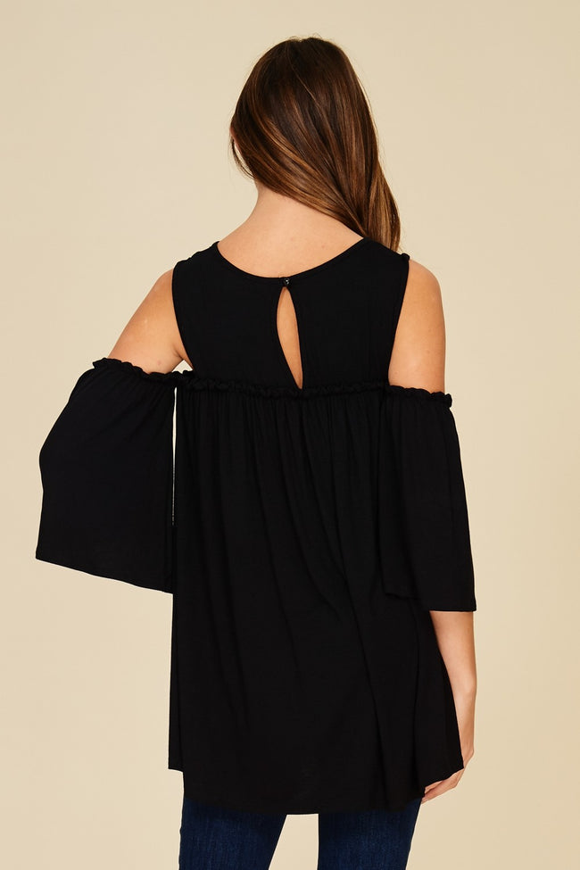 Back View black cold shoulder knit tunic top with three quarter bell sleeves