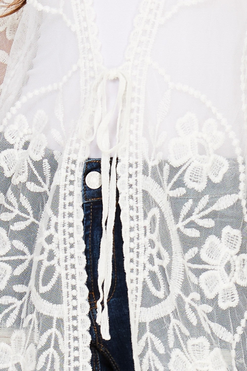 Front detail view white sheer mesh cardigan with floral embroidery