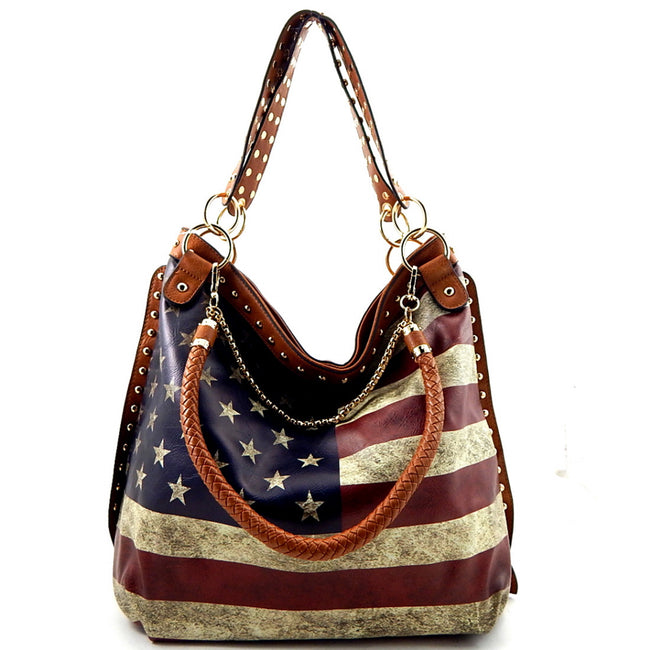 Front view tan American flag print hobo handbag with studded shoulder strap