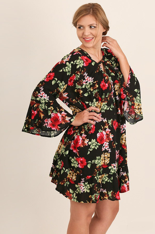 Curvy Junior Casual Floral Print Dress