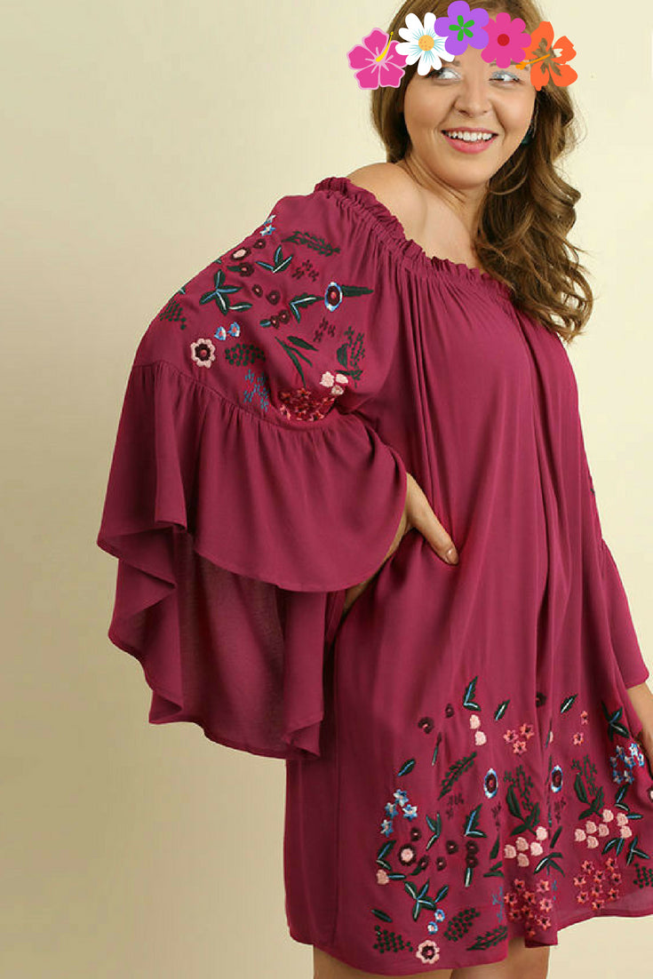 Front view plus size young woman wearing wine floral-embroidered bell sleeve dress