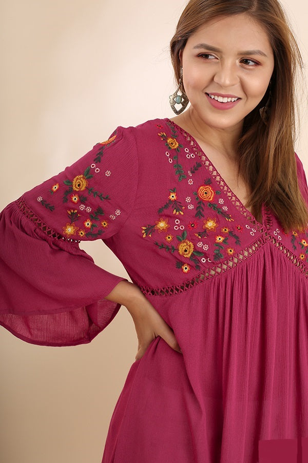 Plus Size Casual Embroidered Tunic - Vegastyleboutique.com - 6