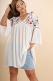 Plus Size Casual Embroidered Tunic - Vegastyleboutique.com - 1