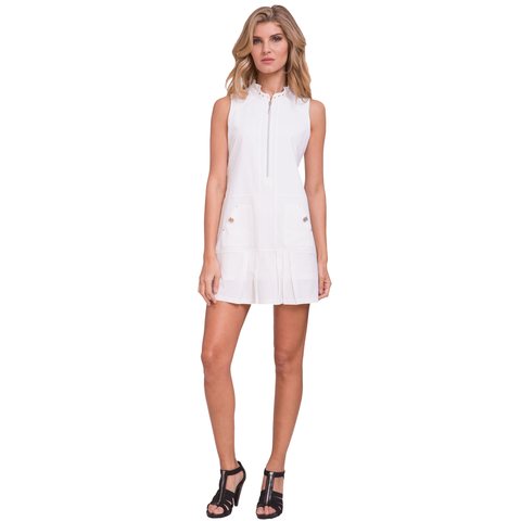 Jamie Sadock Fiji Sugar Pleated Sleeveless Dress