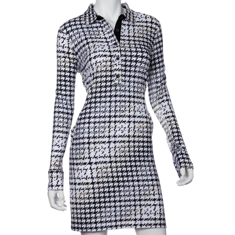 EP Pro Gold Standard Long Sleeve Houndstooth Print Dress
