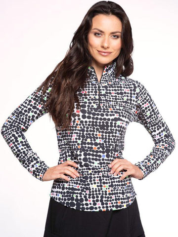 IBKUL Duo Dots Print Mock Neck Black