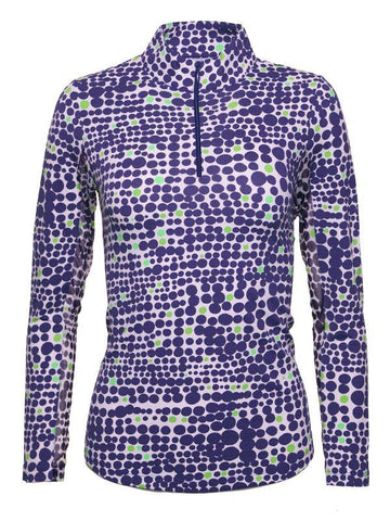 IBKUL Duo Dots Print Mock Neck Navy Green