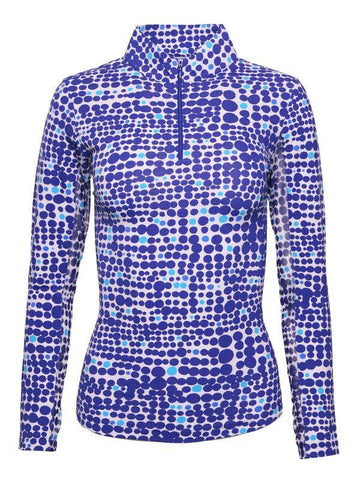 IBKUL Duo Dots Print Mock Neck Royal Blue