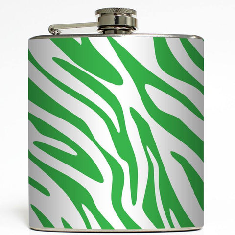 Green Zebra Print Flask