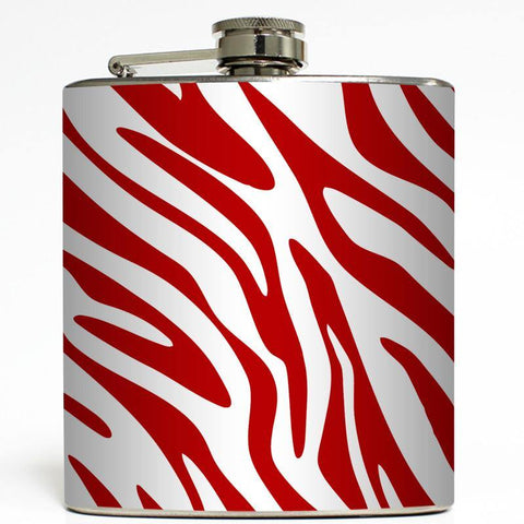 Red Zebra Print Flask