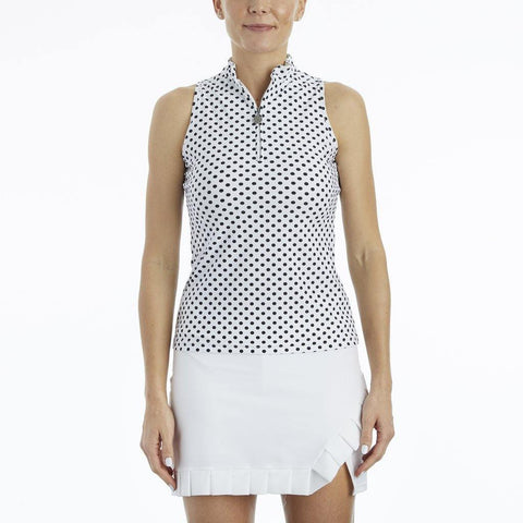 Tzu Tzu Bella Sleeveless Polka Dot Polo