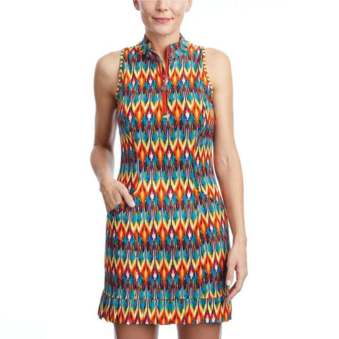 Tzu Tzu Shiloh Aztec Sleeveless Dress - Gals on and off the Green