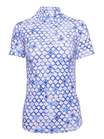 IBKUL Caribbean Tiles Print Short Sleeve Mock Neck Polo