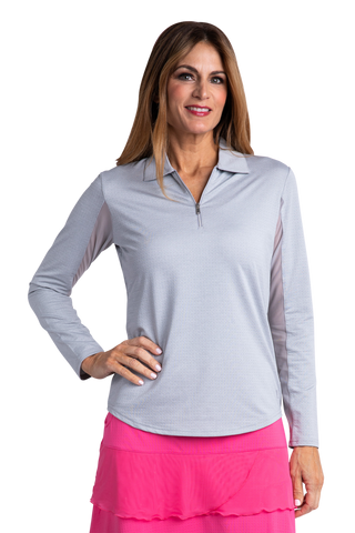 Bette & Court Morning Dew Long Sleeve Swing Polo