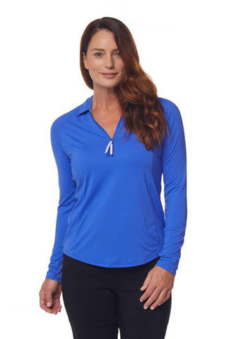 Bette & Court Mirage Sunscape Polo (Cobalt)