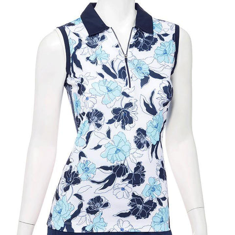 EP Pro Out of the Blue Floral Sleeveless Polo