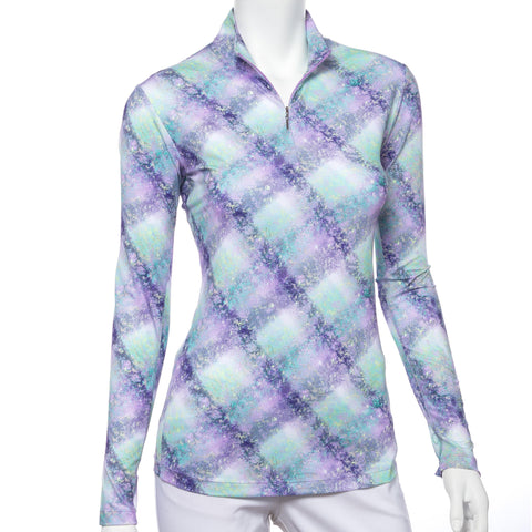 EP Pro Club Med Watercolor Splatter Print Mock Long Sleeve