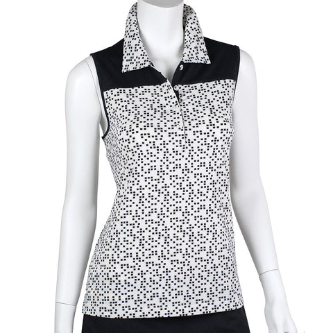 EP Pro Tour Tech Square Dot Printe Sleeveless Polo