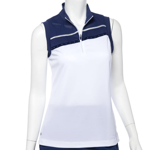 EP Pro Silver Streak Stud Trim Sleeveless Polo