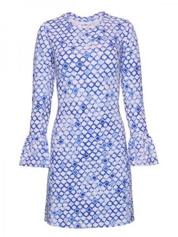 IBKUL Caribbean Tiles Print Bell Sleeve Dress